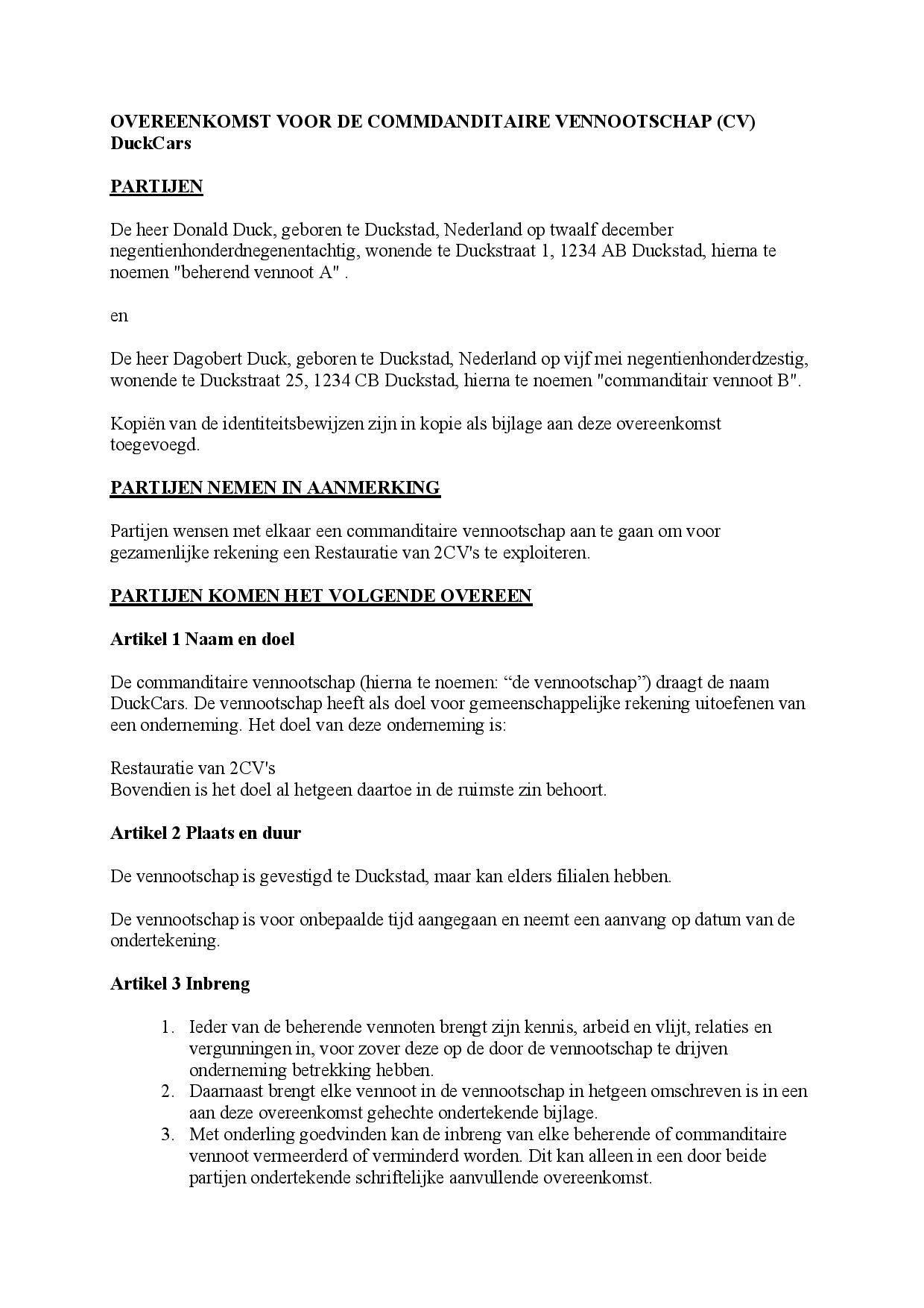 Overeenkomst voor de commanditaire vennootschap CV